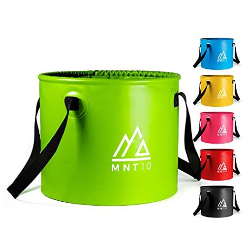 MNT10 Outdoor Falteimer in 15L oder 20L I Faltschüssel aus robustem Planen Gewebe I Als Camping Spülschüssel, Spülwanne oder als Faltbarer Eimer für Camping Geschirr, Besteck (Grün 15L)