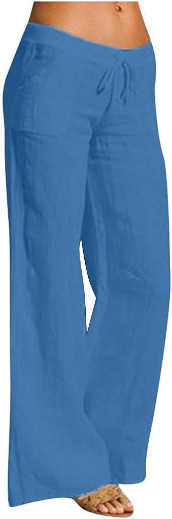 Lovor Wide Leg Lounge Pants - Palazzo Pants for Women Sweatpants Cotton Linen Elastic Waist Drawstring Long Wide Leg Pants