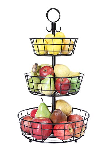 SunnyPoint Countertop French Country 3 Tier Wire Basket Stand For Storing & Organizing, Eggs, And More (3 Tier, Black)