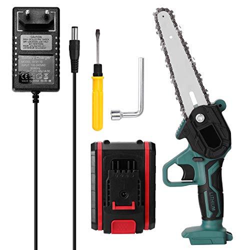 Skyeen Mini sierra de podar eléctrica portátil de 21 V, motosierra de división de madera pequeña recargable, herramienta de carpintería con una mano para clip de rama de huerto de jardín