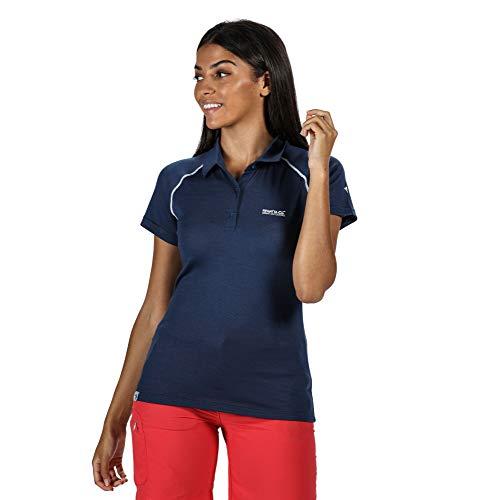 Regatta Polo Technique en Laine Merinos KALTER Respirant et sèche Rapidement avec col boutonné T-Shirts Vests Femme, Dark Denim, FR : XS (Taille Fabricant : 10)