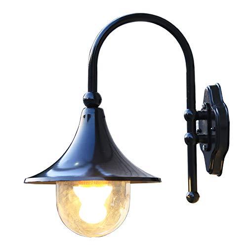 GWF Lámpara de Pared de Aluminio Impermeable al Aire Libre, lámpara de Pared de Cristal Creativa Moderna nórdica, Aplique de la Pared del Negro del Pasillo del Patio del balcón del Chalet
