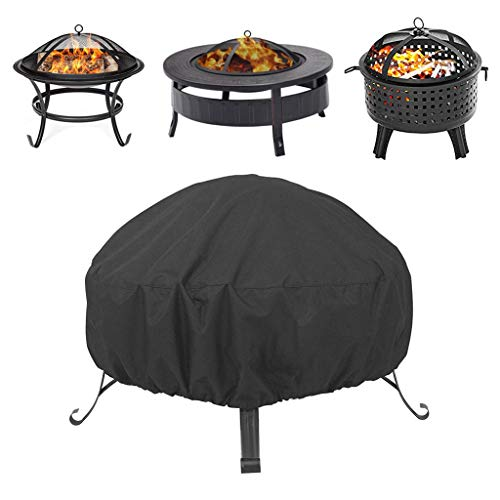 Large Fire Pit Gas Fire Square Cover, Windproof Waterproof Anti-Uv Heavy Duty for Patio Heavy Duty Rip Proof 210D Oxford Fabric Outdoor Garden Patio Heater Cover (Black, 33.5x15.7'')