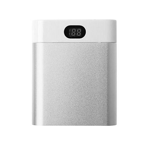 Akku Ladegerät, 10400mAh 4X 18650 Ladegerät Batterien 18650 LCD Display Batterieladegerät Power Bank, Batteriebetrieben, Tragbarer Ladeschatz (Silber)