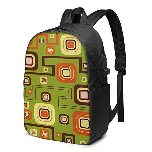 Laptop Backpack with USB Port Geometric 198, Business Travel Bag, College School Computer Rucksack Bag for Men Women 17 Inch Laptop Notebook