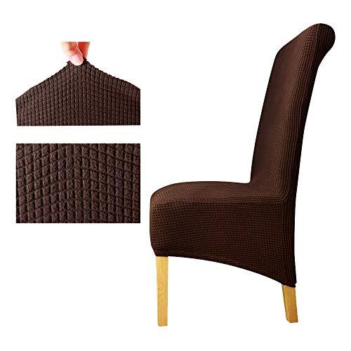 PPOOLLKKMM Polar Fleece Stoff XL Größe Lange Zurück Plaid Stuhlabdeckung Sitzbezüge Stuhlhussen Hotel Party Bankett, Dunklen Kaffee, XL Größe