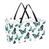 Bolsa de comestibles reutilizable grande, resistente bolsa de compras con parte inferior reforzada y asa (estampado retro de mariposa)