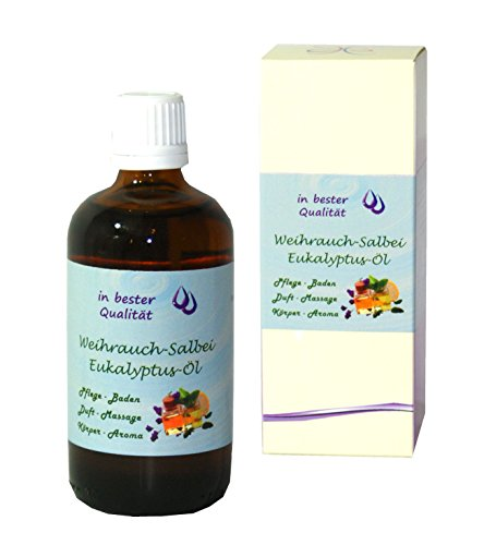 Weihrauch-Salbei-Eukalyptus-Öl; als Massageöl-Badeöl-Duftöl-Körperöl (Weihrauch-Salbei-Eukalyptus, 1x 100 ml)