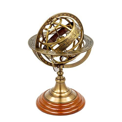 Nagina International Antique Vintage Zodiac Armillary Messing Sphere Globe Wooden Display | Piraten antikes Schiff Dekor (Medium, Antique Brass)