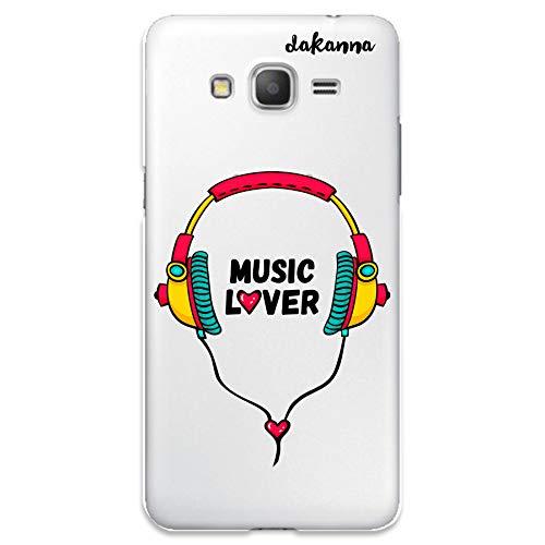 dakanna Funda para Samsung Galaxy Grand Prime | Auriculares con Frase: Music Lover | Carcasa de Gel Silicona Flexible | Fondo Transparente