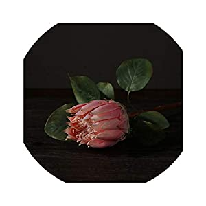 Vicky-fake flowerrs 3Pcs Beautiful Artificial Africa Protea Cynaroides Silk Flowers Branches for Fall Home Wedding Decoration Wreaths Plants Floral,Pink,Whole Length 65 Cn