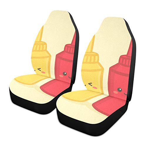 Car Seat Covers 2PC Front Seats Cute Mustard Tomato Ketchup Bottle Automotive Seat Covers With Back Pocket Seat Protector Car Mat Covers Full Fit Most Vehicle, Cars, Sedan, Truck, Suv