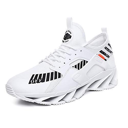 MOLINGXUAN Sportschuhe der Männer Breathable beiläufige Schuhe beiläufige Klinge Laufschuhe atmungsaktive Mesh,Weiß,45UE