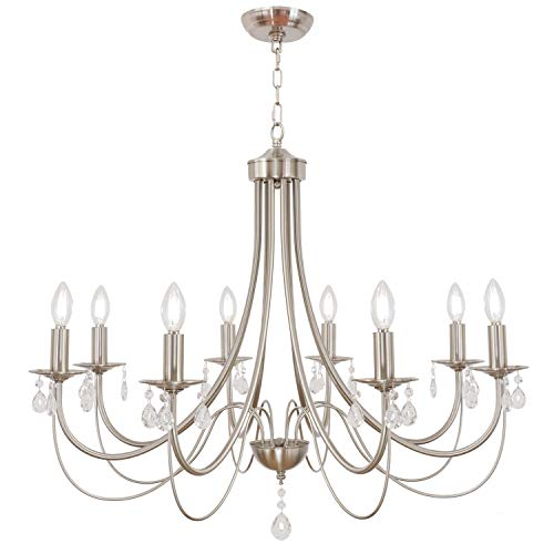 Lucidce 8 Lights Crystal Chandeliers Luxury Contemporary Pendant Light Fixtures Brushed Nickel...