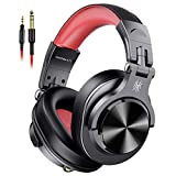 Over Ear Headphones Wired Studio DJ Headphones for Monitoring and Mixing, Professional Headset with Stereo Bass Sound for PC/TV Red?2019 new version)