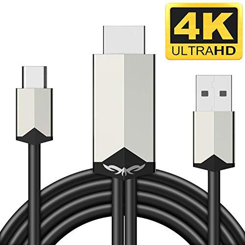 USB C HDMI Kabel MHL zu HDMI Kabel 6.6FT 4K Handy Kabel mit USB-A Ladekabel 1080P HDTV Telefon zu HDMI Adapter für Android Smartphones Samsung LG Huawei,Digitaler AV Adapter zu TV Monitor Projektor