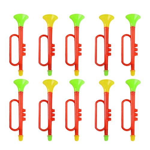 Discover Bargain TOYANDONA 10 Pcs Plastic Trumpet Toy Birthday Party Noise Makers Cheering Prop Trum...