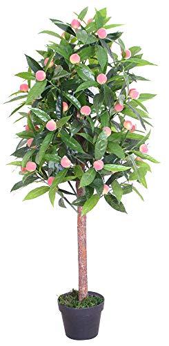 Decovego Pfirsichbaum mit Früchten Kunstpflanze Kunstbaum Künstliche Pflanze mit Echtholz 120cm