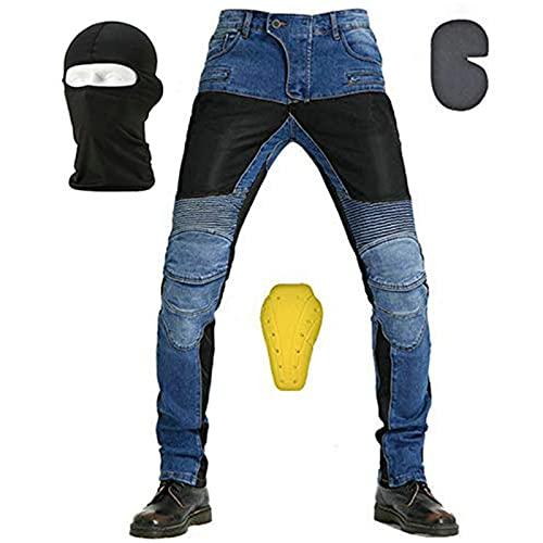 NXSP Pantaloni In Denim Traspirante Da Moto Da Uomo, Jeans Traspiranti Elasticizzati A Gamba Dritta Resistenti Alle Cadute Estive Con 4 Dispositivi Di Protezione (Blue,L)