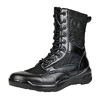 安全靴 作業靴 静電安全靴 JIS規格 消防仕様 長編上靴 ラバーテック消防 P-4 静電 メンズ 超軽量コンバットブーツ通気性衝撃吸収男性と女性のハイトップシューズ511セキュリティ戦術的なミリタリーブーツ (CQBブラックネット,27.0cm)