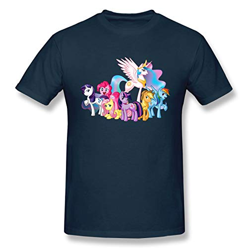 My Little Friends Pony Men's Basic Short Sleeve T-Shirt Casual Fashion Printed Cotton Navyl
