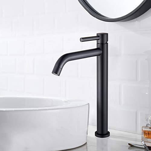 Suguword Grifo mezclador monomando para lavabo con mango de bordado, de latón con cartucho de cerámica, color negro