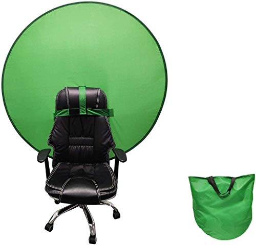 LTYH Green Screen Background Foldable,Portable Webcam Green Screen Backdrop,Green Portable Backdrop Background with Hook Strap for Chair 1.45 M (57 Inch) for Video Chat (Green)