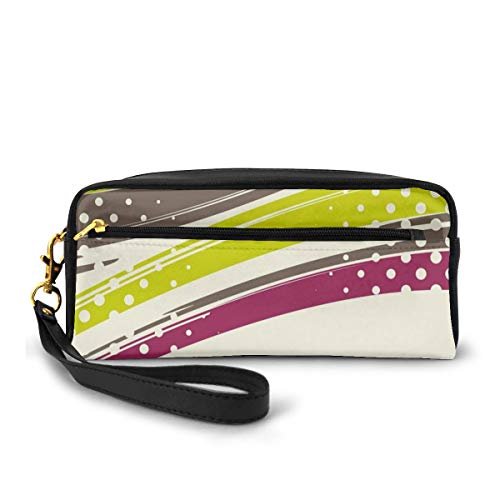Pencil Case Pen Bag Pouch Stationary,Grunge Inspired Lines with Vibrant Colors Polka Dots Retro Abstract,Small Makeup Bag Coin Purse