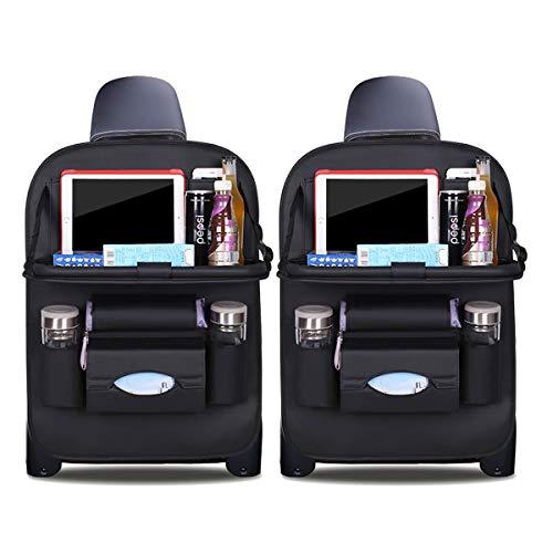 Ergocar Auto Organizer Rückenlehnenschutz Autositzschutz aus PU-Leder mit faltbarem Tablethalter wasserdicht Rückenlehnenschutz Rückenlehnen-Tasche für Kinder (Schwarz - 2 Pack)