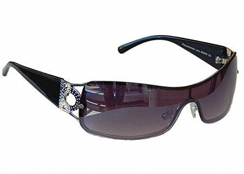 Sonnenbrille Damenbrille Brille Monoglas Sportlicher Style Damen M 34 (Schwarz Silber)
