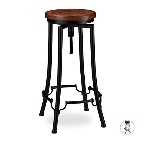 Relaxdays Barhocker industrial, Tresenhocker drehbar, hoher Vintage Hocker, höhenverstellbar bis 77,5 cm, schwarz/braun