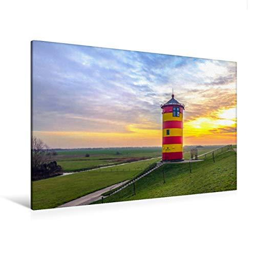 CALVENDO Premium Textil-Leinwand 120 x 80 cm Quer-Format Leuchtturm bei Pilsum, Leinwanddruck von Andrea Dreegmeyer