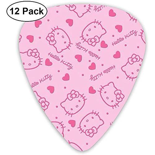 Plettri per chitarra - Plettri per chitarra casual in celluloide con stampa Hello Kitty rosa alla moda Confezione da 12 pezzi