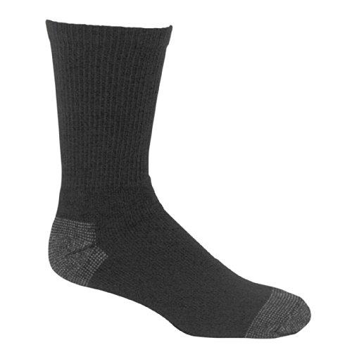 Fruit of the Loom Men's 6 Pack Heavy Duty Reinforced Cushion Full Crew Socks, Black, Shoe Size:...