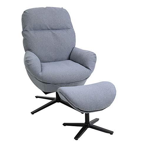 HOMCOM Relaxsessel mit Hocker Fernsehsessel Polstersessel 360° drehbar 20° neigbar Chesterfield Leinen Schaumstoff Aluminiumlegierung Hellgrau 78 x 77,5 x 100 cm