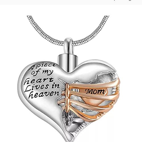 MITIAN A Piece of My Heart Lives In Heaven Collar De Cremación De Corazón Conmemorativo, Joyería De Recuerdo con Colgante para Hombres/Mujeres