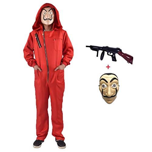 Bankräuber Overall für Karneval Dieb Kostüm Overall Rot Langarm Strampler mit Kapuze,Cosplay Set Maske Und Maschinengewehr Fasching Karneval Kostüm Damen Herren Kostümfes Fasching (Adult-M-170-175)