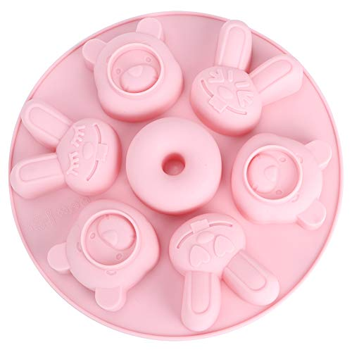 Chocolate Mold, Good Grade Silicone Cartoon DIY Making Mold Pudding Mold, Dishwasher Safe Eggs Omelets Muffins for Pancakes(Pink)