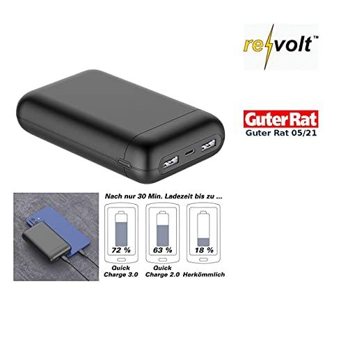 reVolt Supercharge-Powerbank: USB-Powerbank mit 20 Ah, Quick Charge, PD und Super Charge, 22,5 Watt (Powerbank mit Schnellladefunktion)
