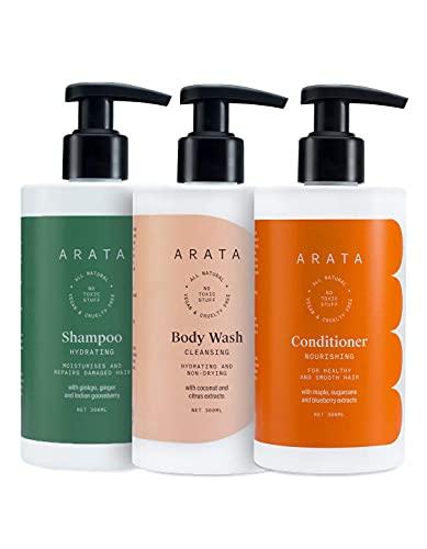 Glamorous Hub Arata Terapia combinada de hidratación profunda natural para mujeres con champú hidratante, gel de baño y acondicionador Todo natural, vegano y sin crueldad, cabello intensamente nutrido