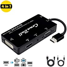 ConnBull HDMI Adapter, Multiport HDMI to VGA DVI HDMI Synchronous Display with Audio 4 in 1 Video Converter 1080p for Laptop Monitor Projector Black