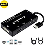 Adaptateur HDMI vers VGA DVI, ConnBull 4 en 1 Multiport Adaptateur avec Audio Jack...