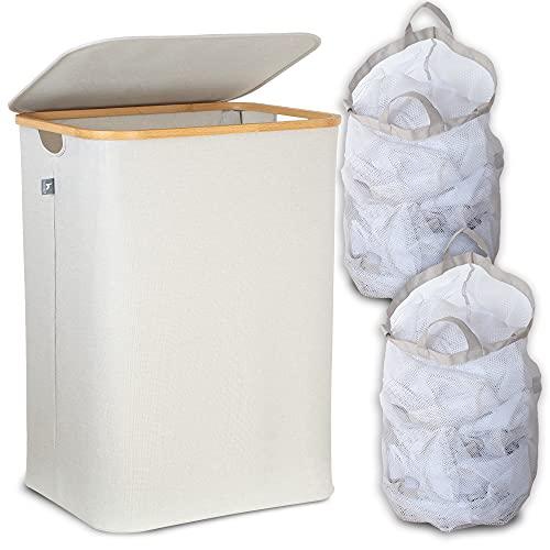 HENNEZ® Wäschekorb 2 FÄCHER 140L, HERAUSNEHMBARER WÄSCHESACK, Wäschesammler faltbar, Wäschesortierer 2 fach, Wäschetruhe, Wäschekorb mit Deckel Bambus, HELLGRAU