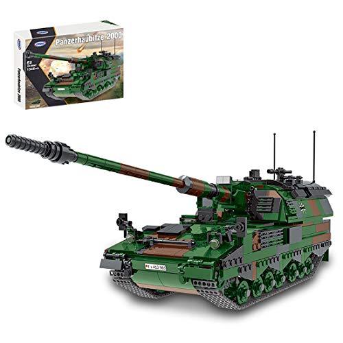 BGOOD Technik Panzer Bausteine Bausatz, 1345 Teile Deutscher Panzer Haubitze PzH-2000 WW2 Militär Panzer Modell für Kinder und Erwachsene, Kompatibel mit Lego Technic