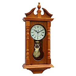 Vmarketingsite Wall Clocks: Grandfather Wood Wall Clock with Chime. Pendulum Wood Traditional Clock. Makes a Great Housewarming or Birthday Gift (Oak)