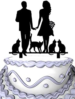 Meijiafei Bride and Groom Hand in Hand with 4 Cats Family Wedding Decoration