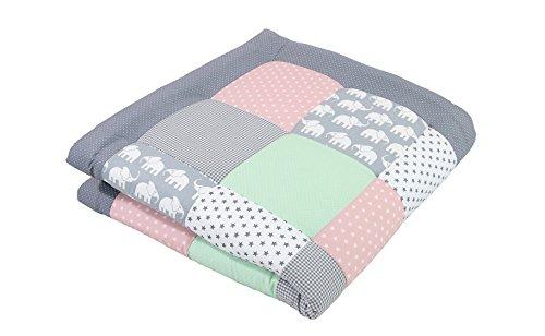 ULLENBOOM ® Baby Krabbeldecke Elefant Mint Rosa (100x100 cm Baby Kuscheldecke, ideal als Laufgittereinlage, Spieldecke, Motiv: Punkte, Sterne)