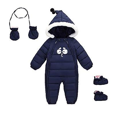 Baby One Piece Snowsuit 3pcs All in One Snowsuit Romper Zipper Onesie Winter Warm Newborn Jumsuit 0-6 Month Dark Blue