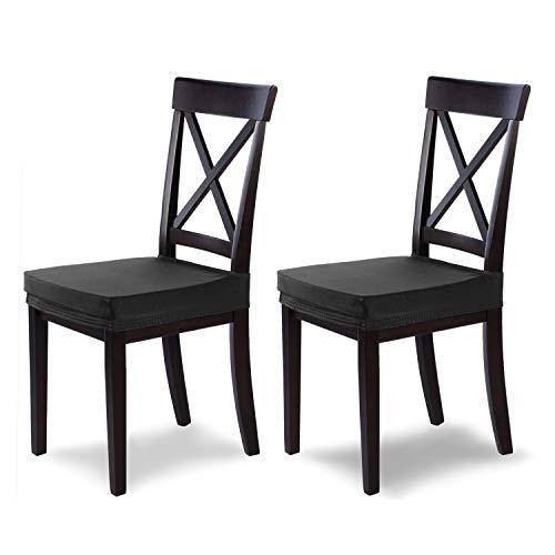 SCHEFFLER-Home Housse de Chaise Extensible « Marie » / Lot de 2 / Noir / Housse de siège élastique avec Protection Contre Les Taches / Housse élégante pour chaises