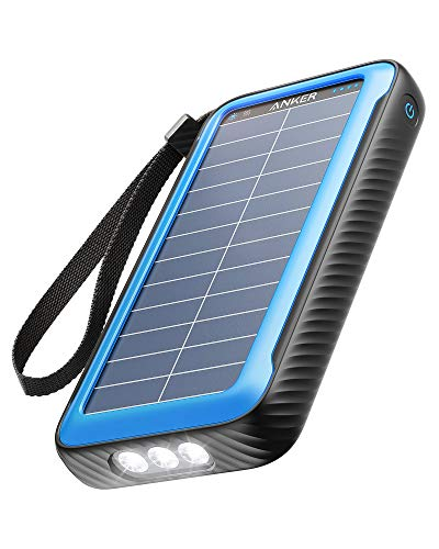 Anker Solar Power Bank, PowerCore Solar 20000 Dual-Port Solar Charger with Flashlight, IP65 Splash Proof and Dustproof for Outdoor Activities, Compatible with Smartphones and Other Devices